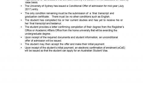 悉尼大学2017Conditional eCoE政策发布