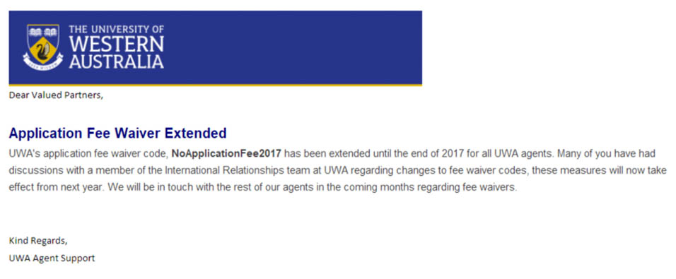 西澳大学的免申请费政策延迟到2017年底