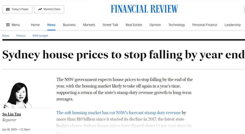 新州政府预计年底前悉尼房价停止下跌