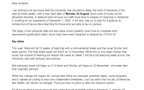 旅行禁令或将解除?悉尼大学宣布延迟至8月开学!澳洲大学跟莫里森谈好了?